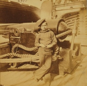 Young sailor on board ship during civil war